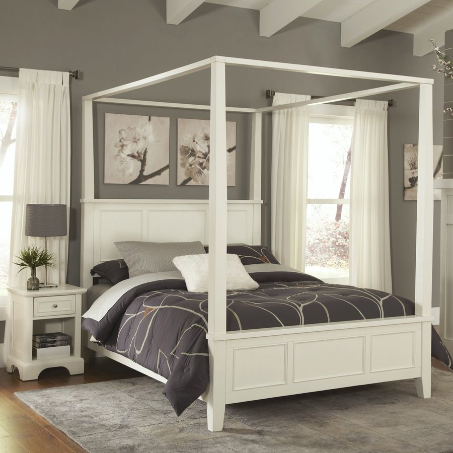 Shop home styles naples white queen bedroom set at for Bedroom furniture with mattress