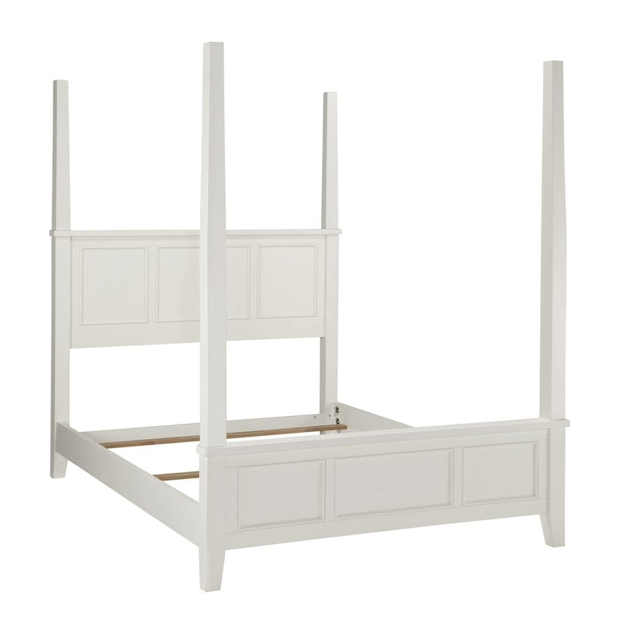 Shop home styles naples white queen 4 poster bed at for 4 poster white bed