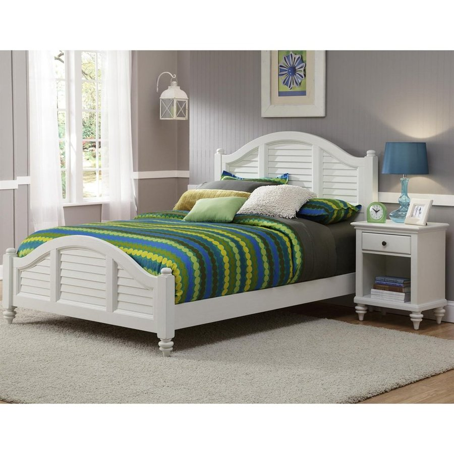 Home Styles Bermuda Brushed White Queen Panel Bed