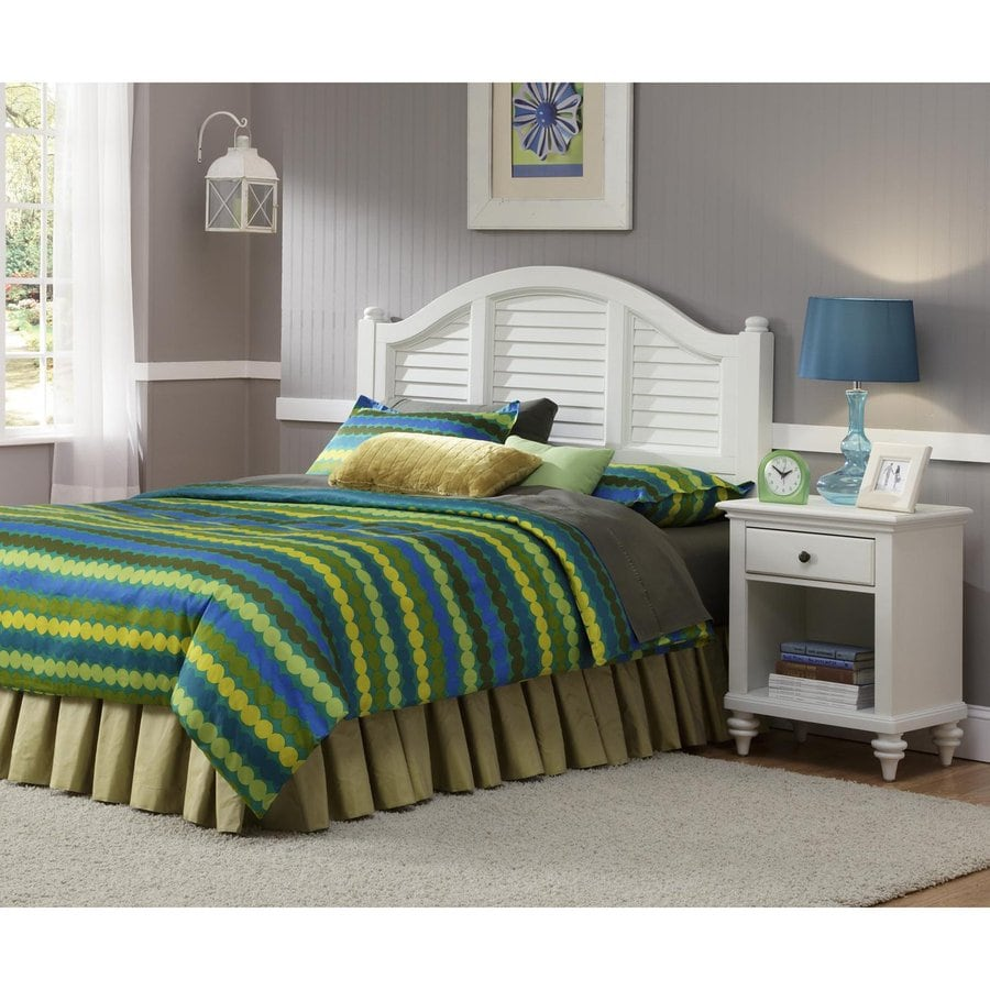 Shop home styles bermuda brushed white queen bedroom set for Bedroom sets with mattress included
