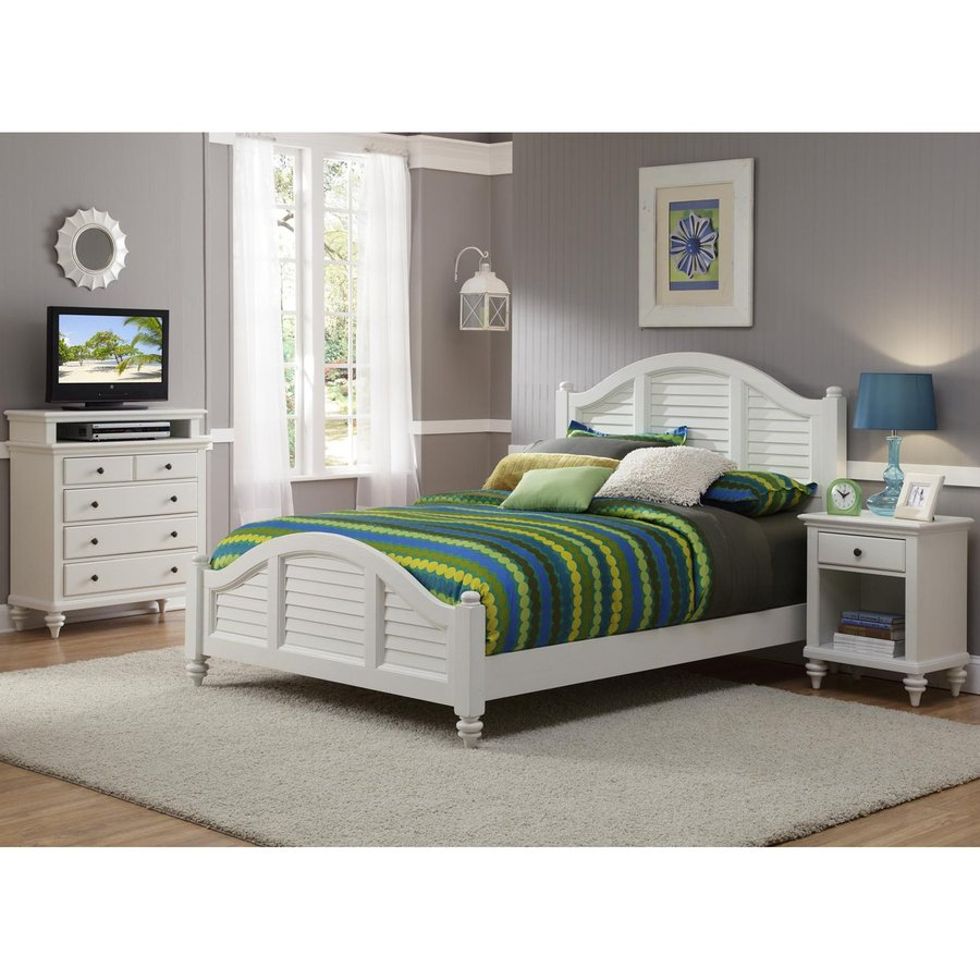 Shop home styles bermuda brushed white queen bedroom set for Home styles bedroom furniture