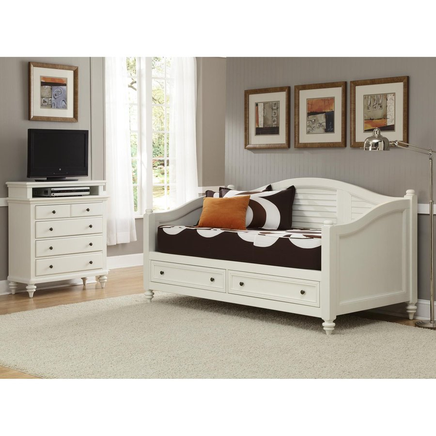 Shop Home Styles Bermuda Brushed White Twin Bedroom Set at Lowescom