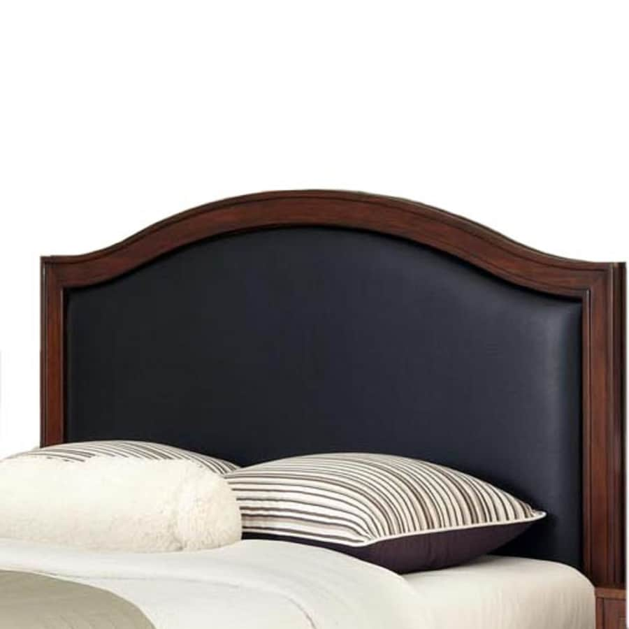 Home Styles Duet Rustic Cherry Black Queen Bonded Leather Upholstered Headboard