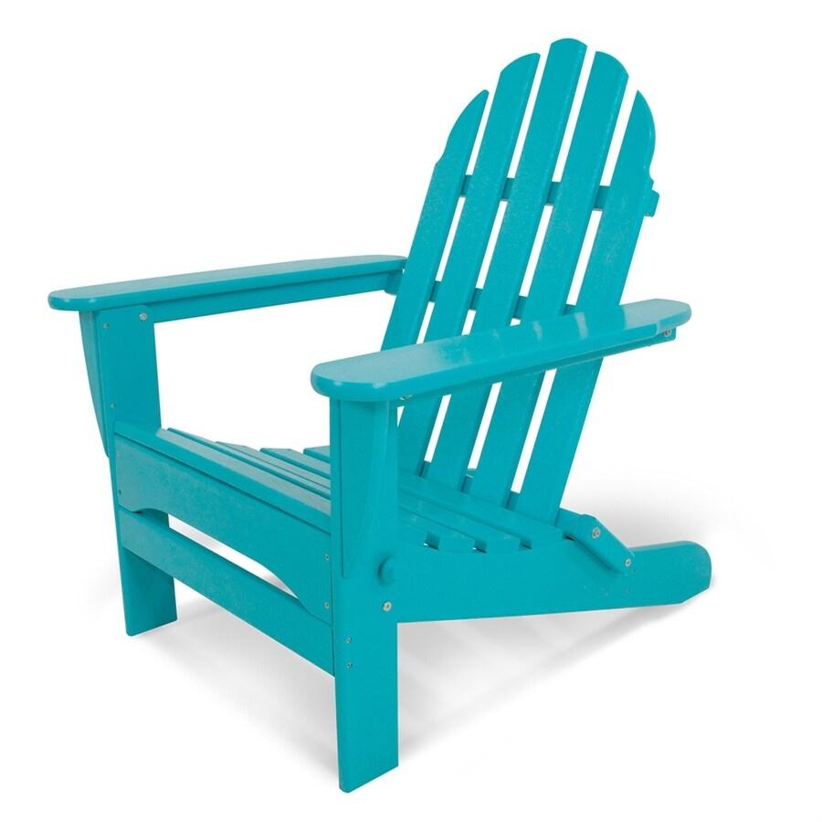 POLYWOOD Classic Adirondack Aruba Plastic Folding Patio Chair