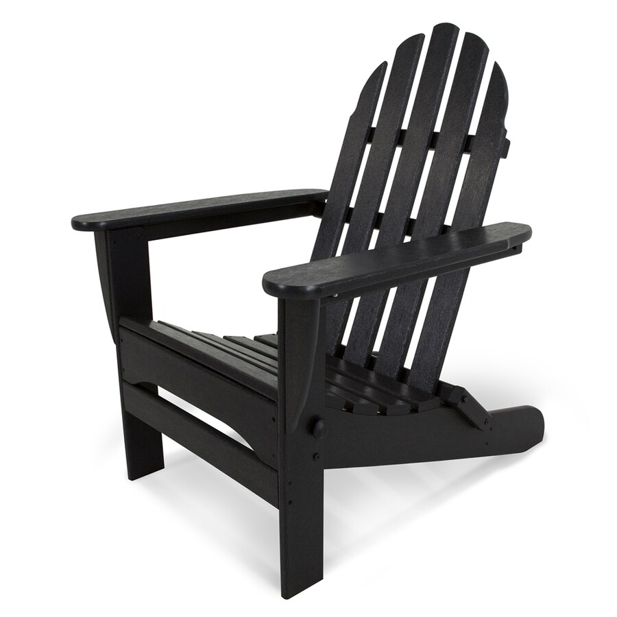 POLYWOOD Classic Adirondack Black Plastic Folding Patio Chair