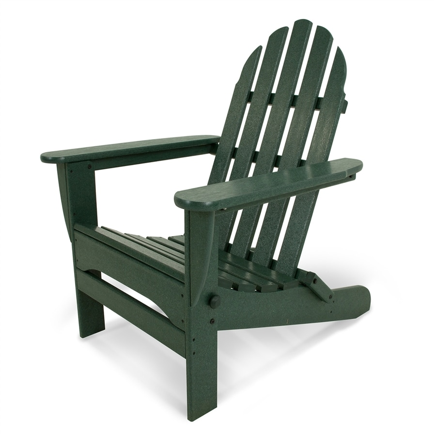 Shop POLYWOOD Classic Adirondack Green Plastic Folding Patio Chair At