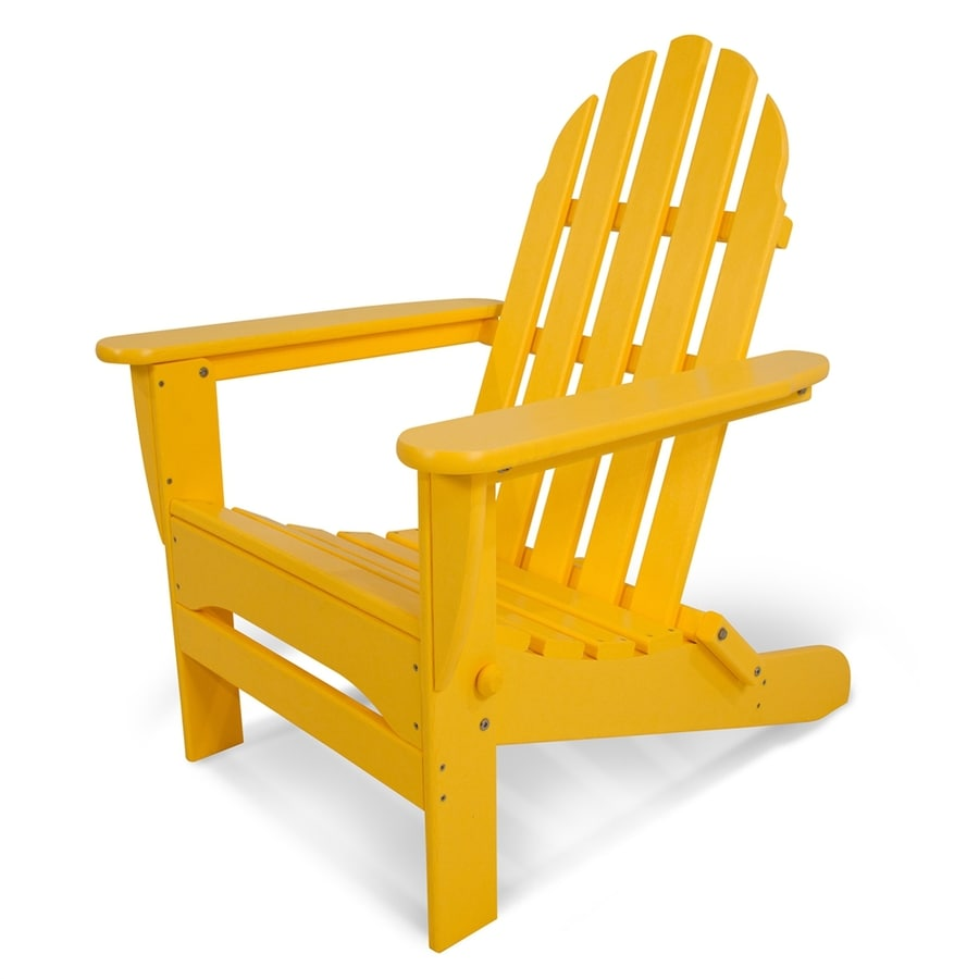 POLYWOOD Classic Adirondack Lemon Plastic Folding Patio Adirondack Chair