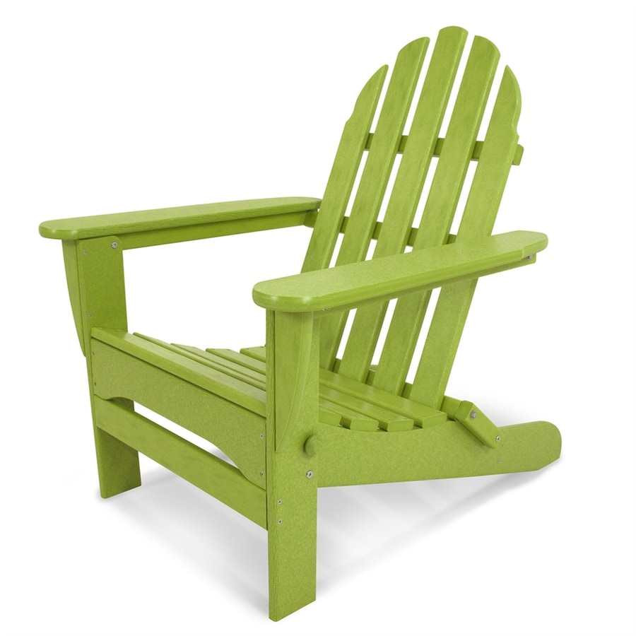 POLYWOOD Classic Adirondack Lime Plastic Folding Patio Chair