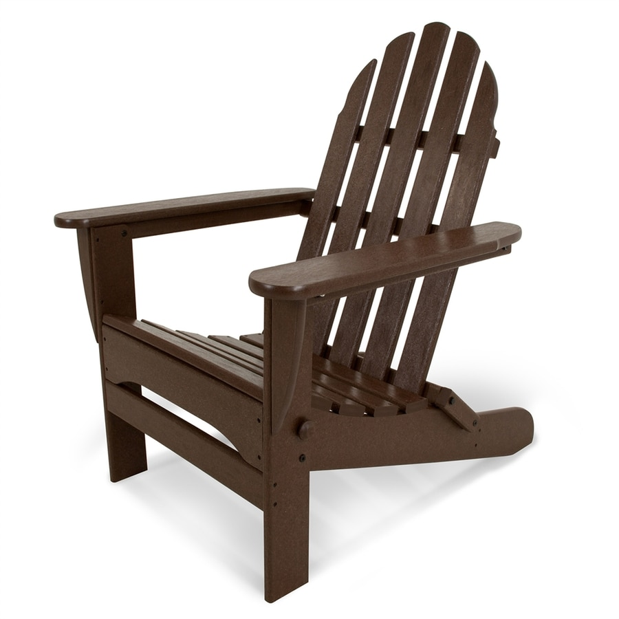POLYWOOD Classic Adirondack Mahogany Plastic Folding Patio Chair