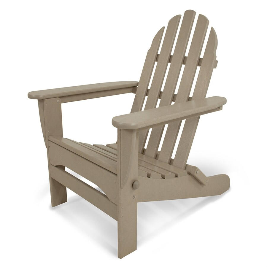 POLYWOOD Classic Adirondack Sand Plastic Folding Patio Chair