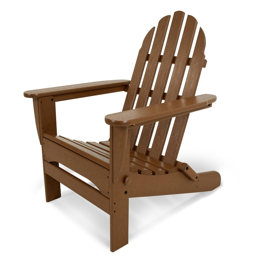 POLYWOOD Classic Adirondack Teak Plastic Folding Patio Chair