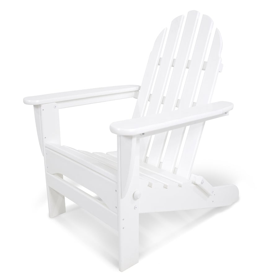 POLYWOOD Classic Adirondack White Plastic Folding Patio Chair