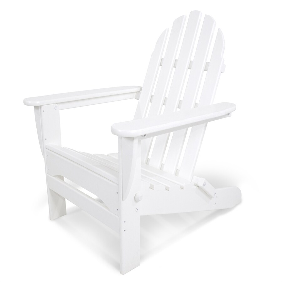 Shop Polywood Classic Adirondack White Plastic Folding Patio Chair At