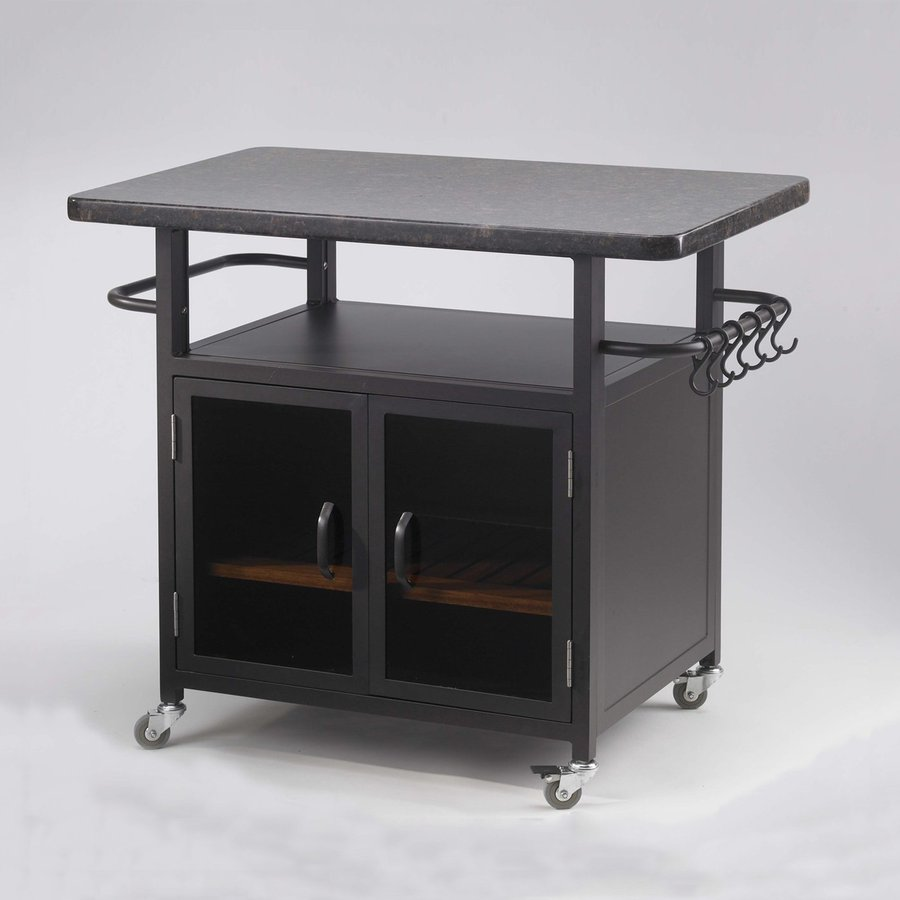 Outdoor Greatroom Company Black Aluminum Outdoor Serving Cart