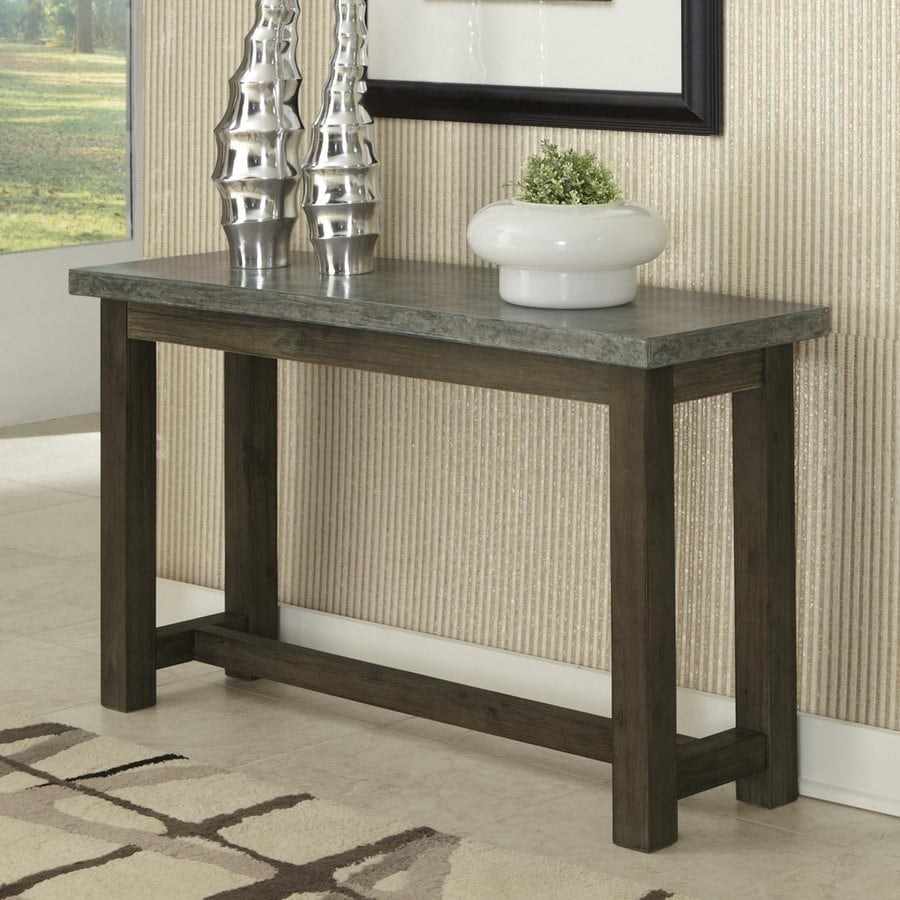 Home Styles Concrete Brown/Gray Acacia Rectangular Console and Sofa Table