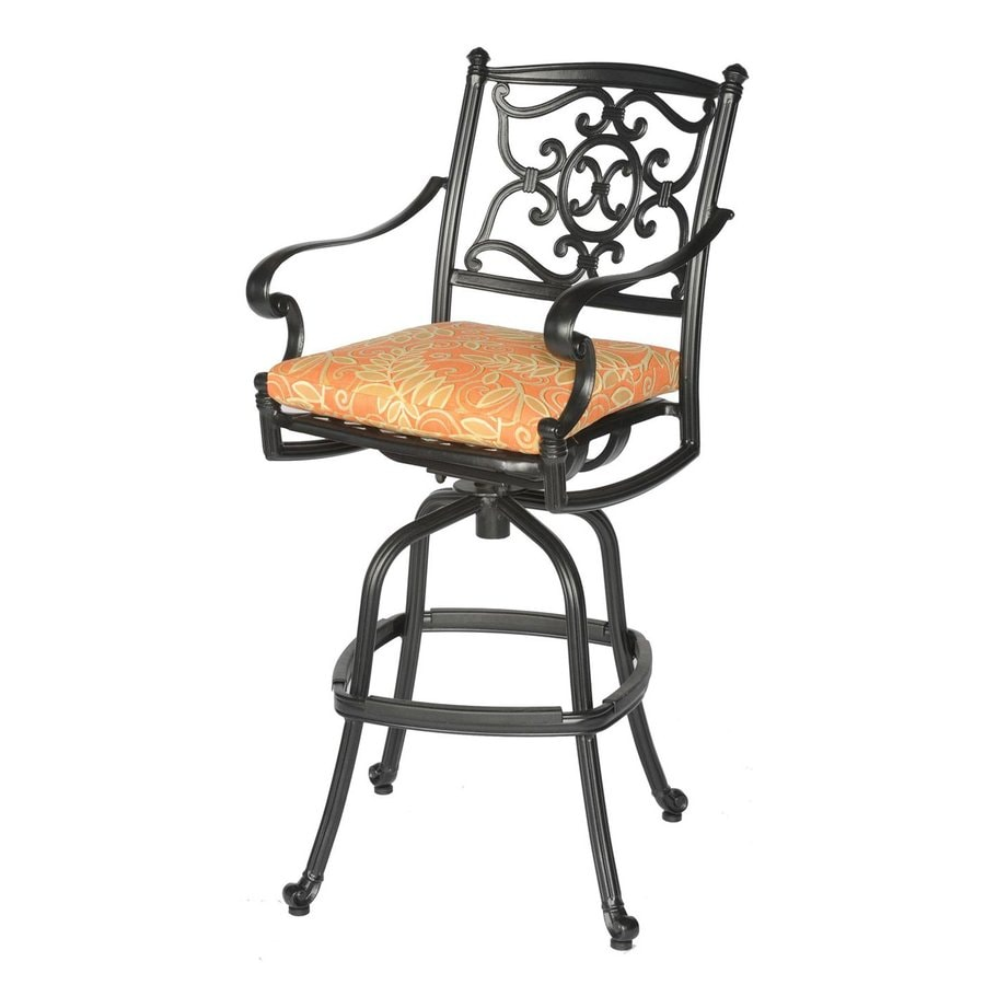 Meadow Decor Kingston Black Aluminum Patio Barstool Chair
