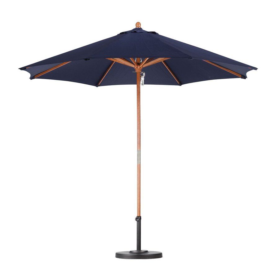 California Umbrella Navy Blue Market Patio Umbrella (Common: 9-ft W x 9-ft L; Actual: 9-ft W x 9-ft L)