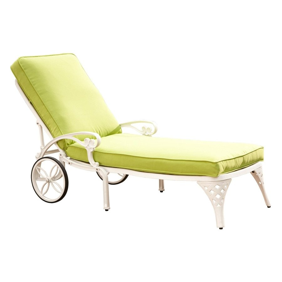 Home Styles Biscayne White Aluminum Patio Chaise Lounge Chair with Green Apple Cushion