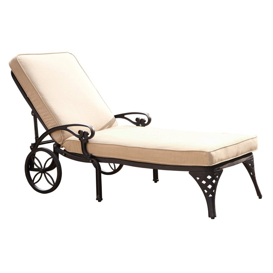 Shop home styles biscayne black aluminum patio chaise for Black metal chaise lounge outdoor
