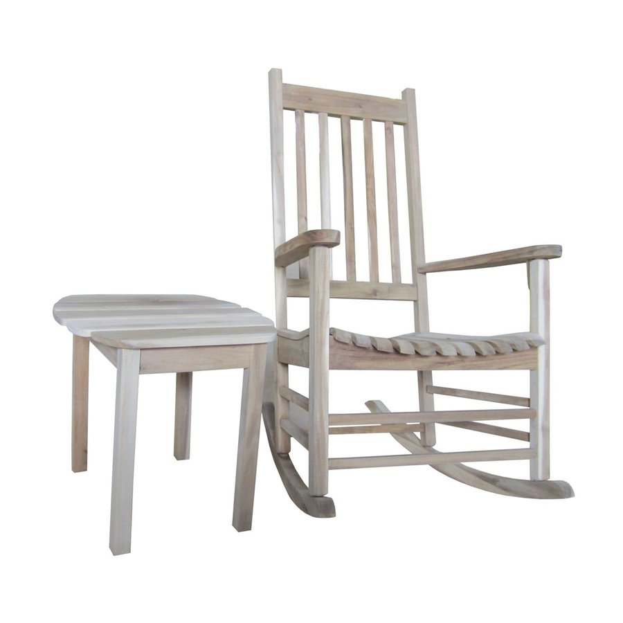International Concepts Acacia Rocking Chair With Slat Seat