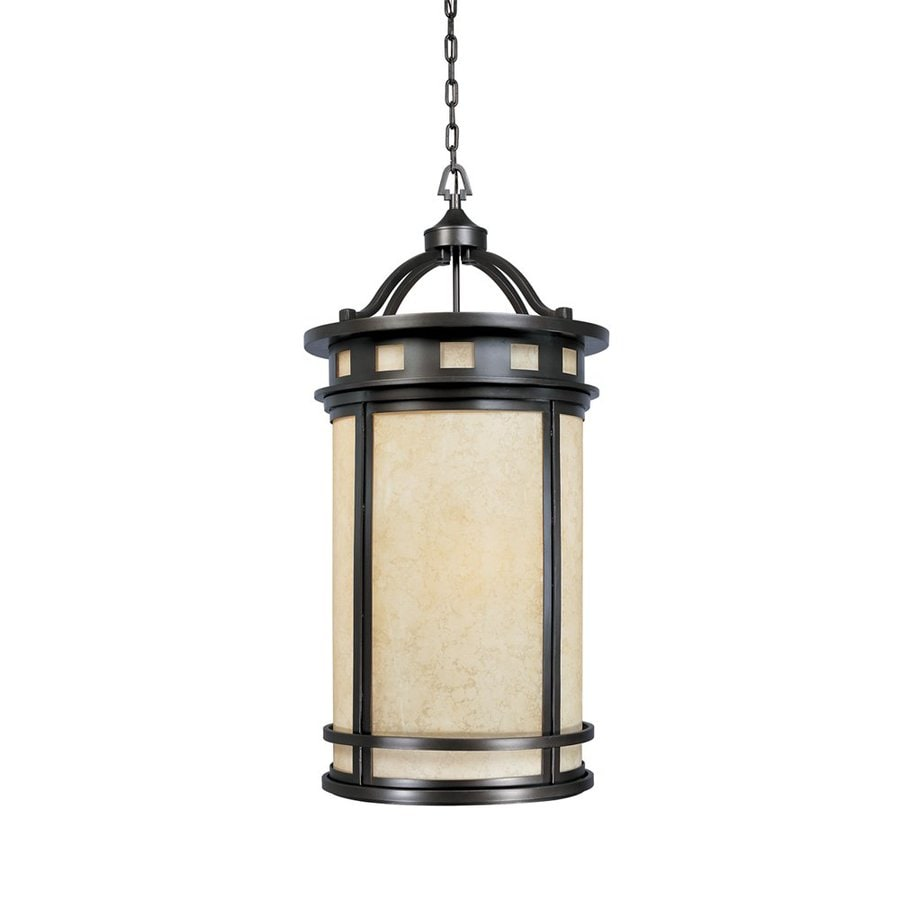Designer's Fountain Sedona 21.5-in Oil-Rubbed Bronze Single Tinted Glass Cylinder Pendant