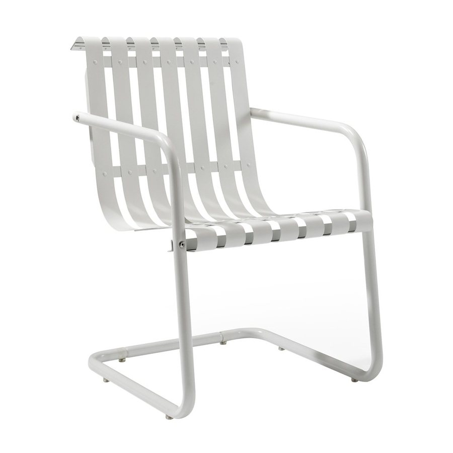 Crosley Furniture Gracie Alabaster White Steel Patio Conversation Chair