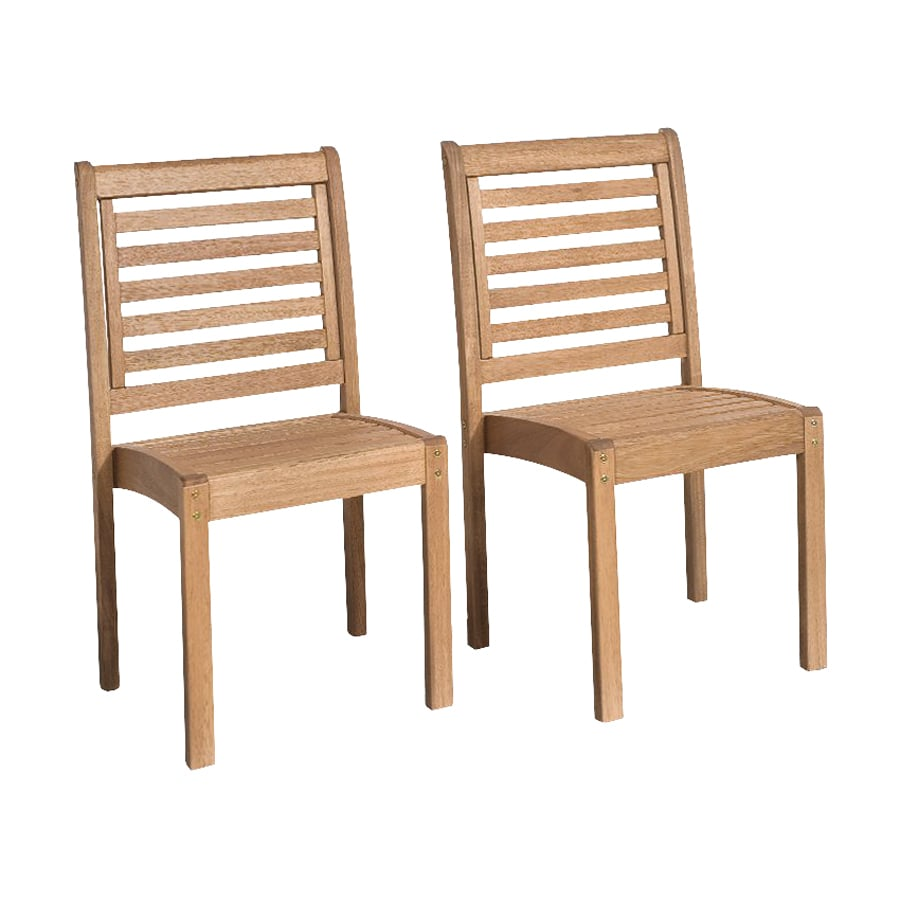 International Home Amazonia 2-Count Eucalyptus Stackable Patio Dining Chairs
