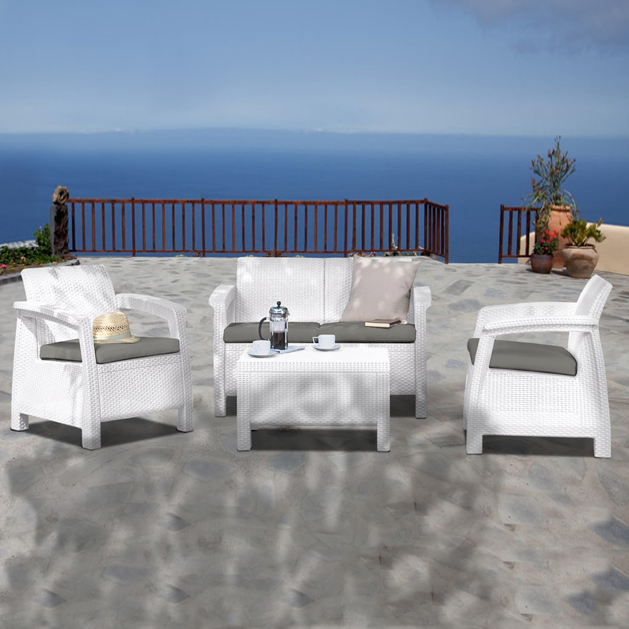 International Home 4 Piece Atlantic White Wicker Patio Conversation Set With Solid Gray Cushions