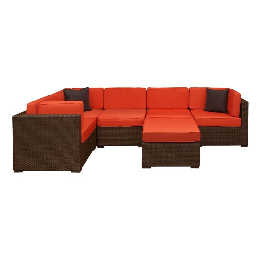 International Home Atlantic 6 Piece Frame Patio Conversation Set With Orange  Cushions