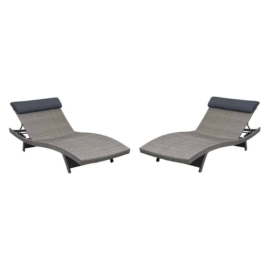International Home Atlantic 2-Count Grey Wicker Patio Chaise Lounge