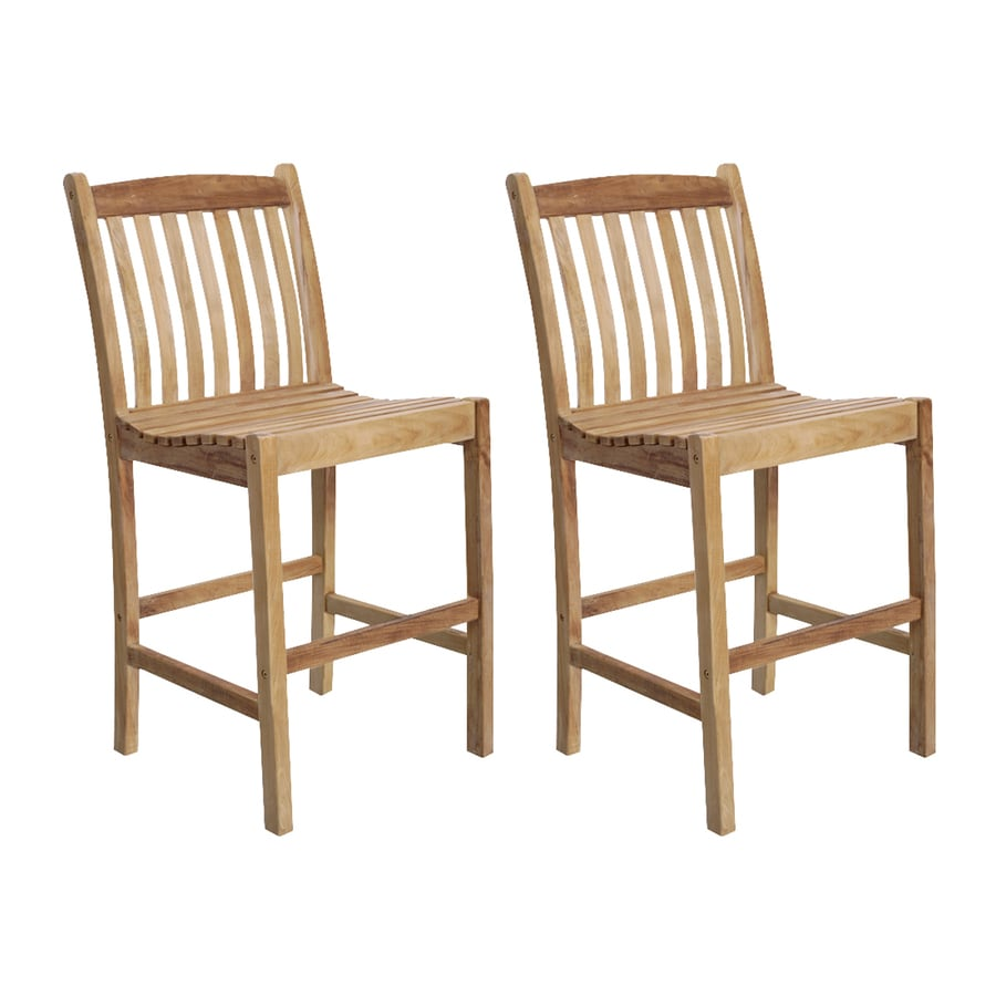 International Home Amazonia Teak 2-Count Light Brown Teak Patio Barstool Chairs