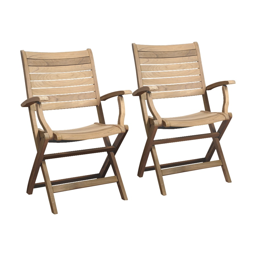 International Home Amazonia Teak 2-Count Light Brown Teak Folding Patio Dining Chairs