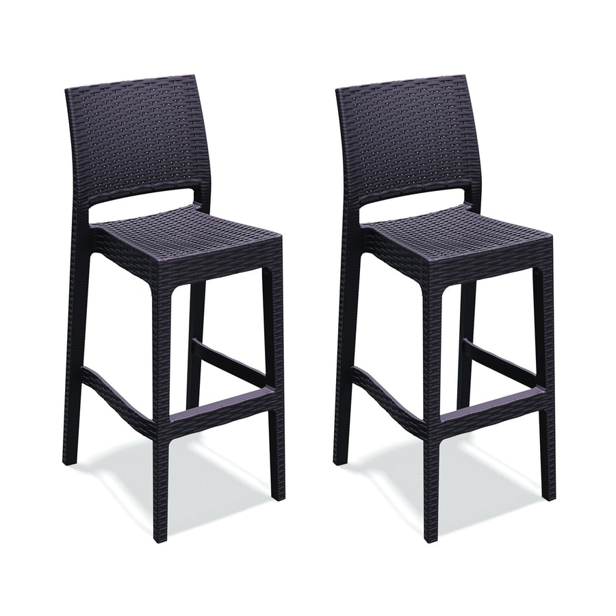 Exceptionnel Compamia Jamacia Wickerlook Set Of 2 Resin Bar Stool Chairs With Woven  Wicker Seat