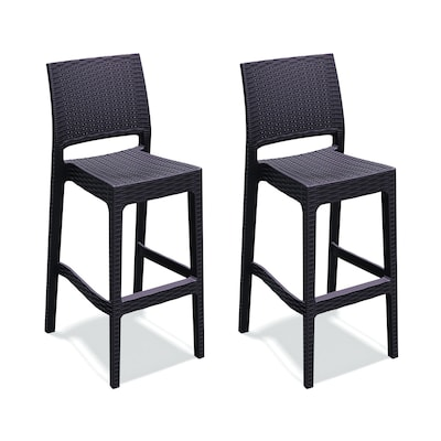 new style f4c79 9db62 Jamacia Wickerlook Set of 2 Wicker Stackable Resin Bar Stool Chair with  Woven