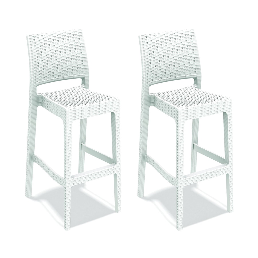Shop compamia jamacia wickerlook 2 count white resin stackable patio barstool chair at - White resin stacking chairs ...