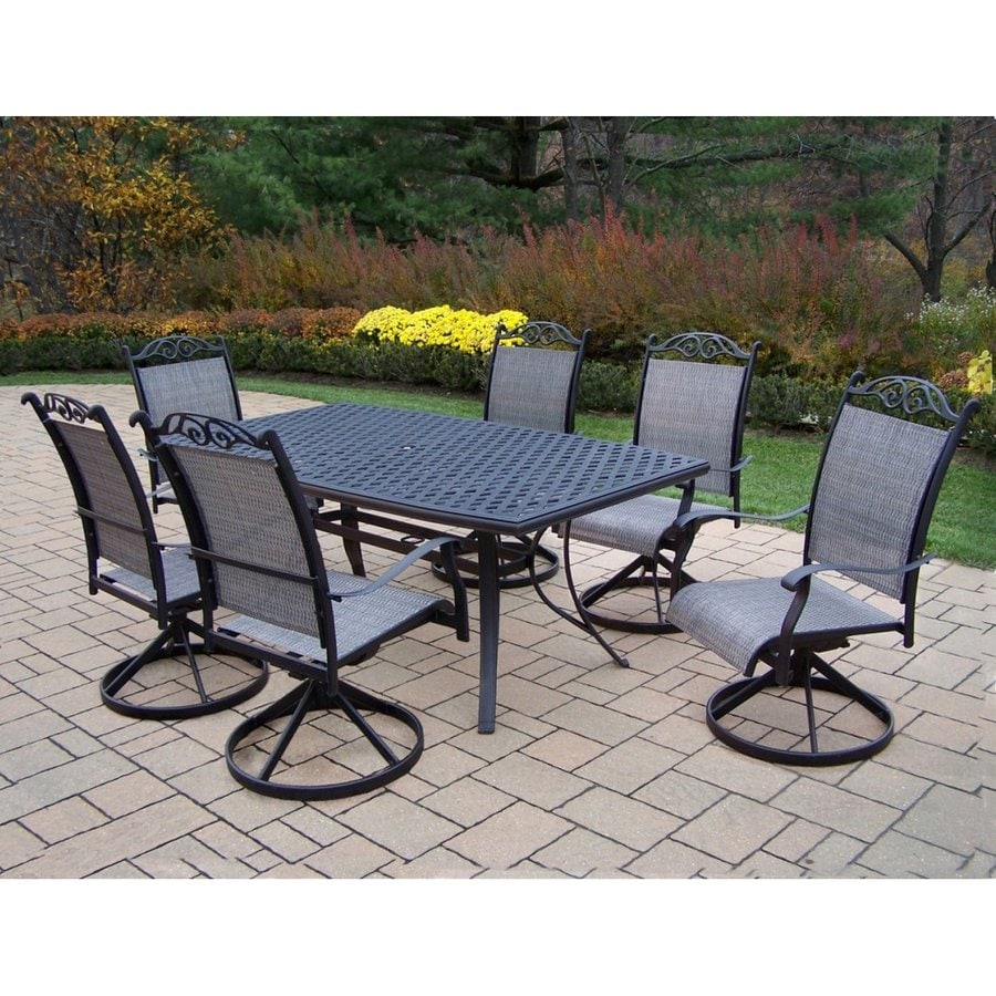 pl sets dining oat frame at com hanover furniture bronze natural set piece outdoors patio shop traditions with metal outdoor lowes