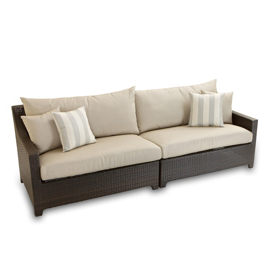 Shop rst brands deco solid cushion beige wicker sofa at