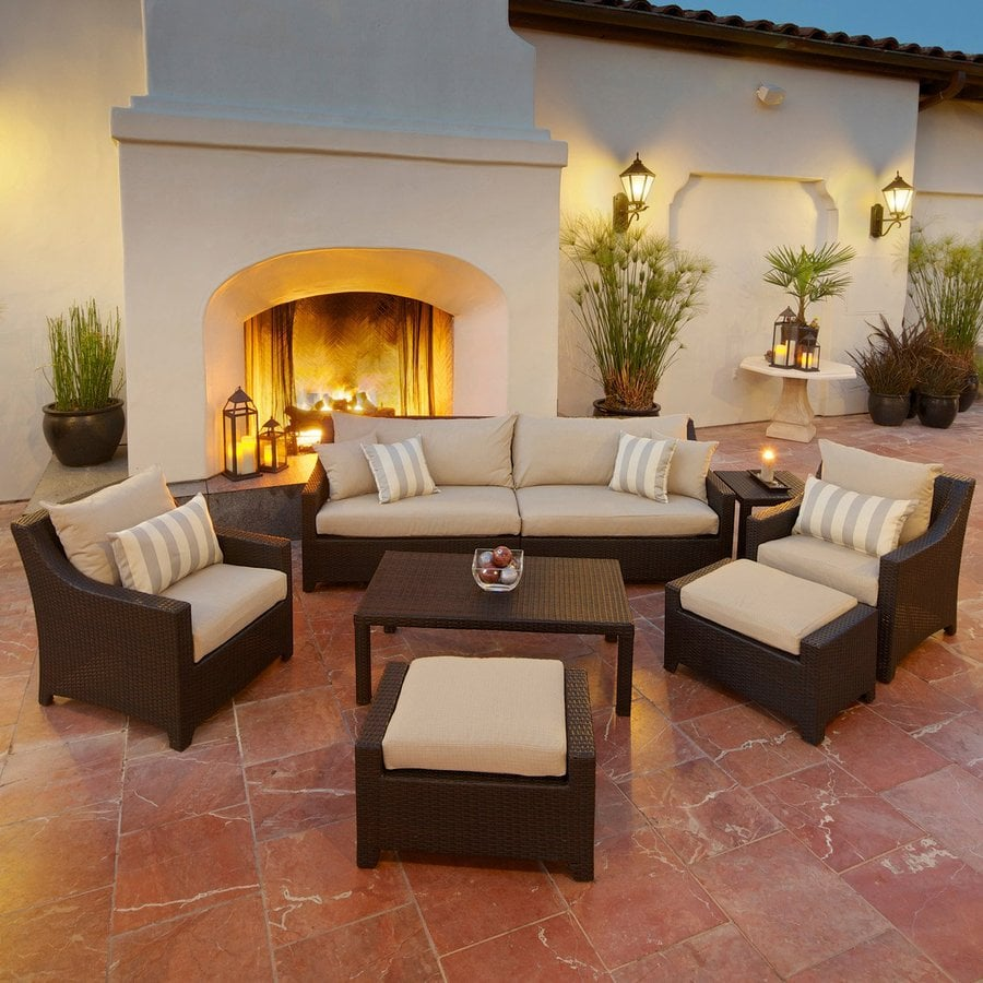 RST Brands Deco 8 Piece Wicker Frame Patio Conversation Set With Slate Grey  Cushions