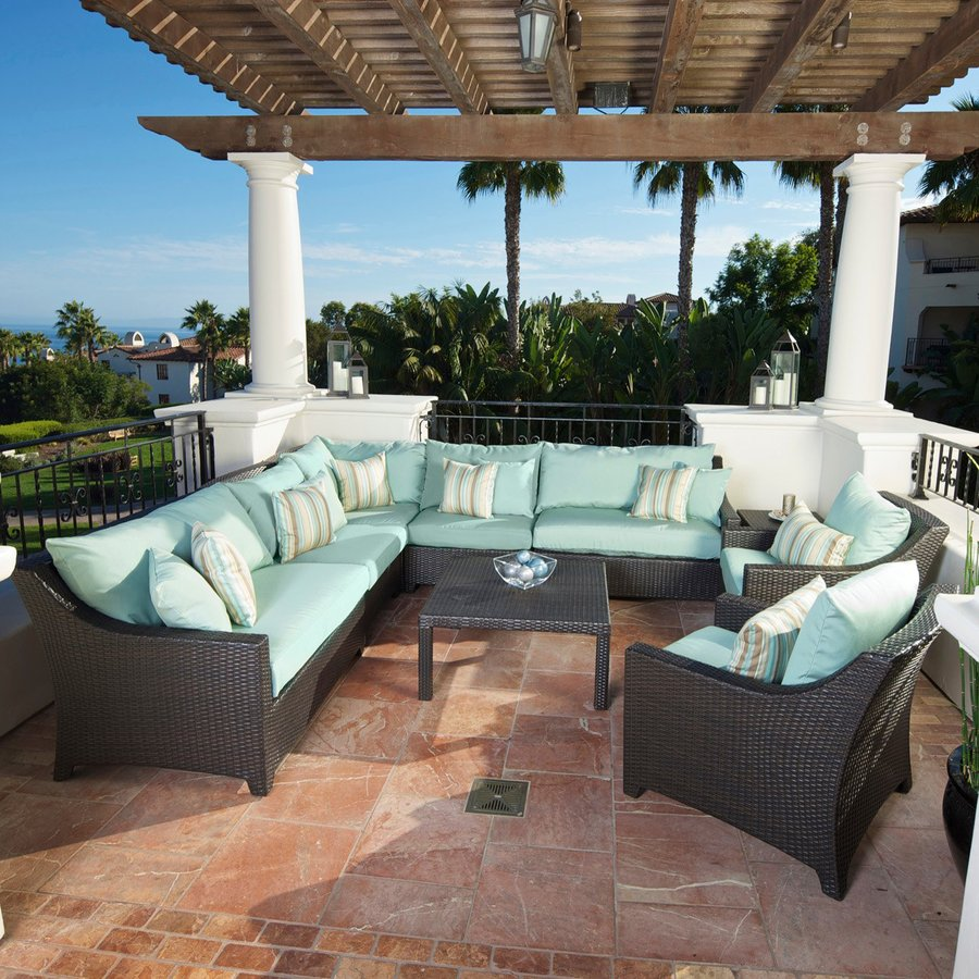 Shop Rst Brands Deco 9 Piece Wicker Frame Patio Conversation Set With Bliss Blue Cushions At