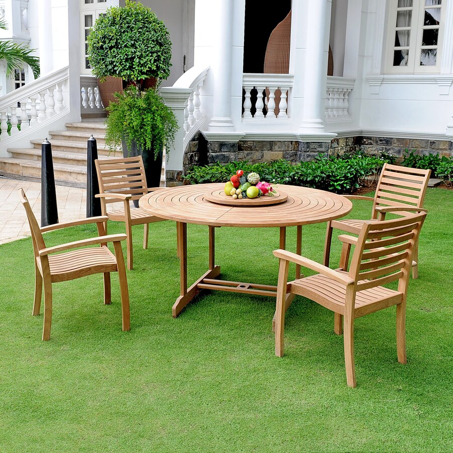 HiTeak Furniture 5-Piece Natural Blond Teak Dining Patio Dining Set