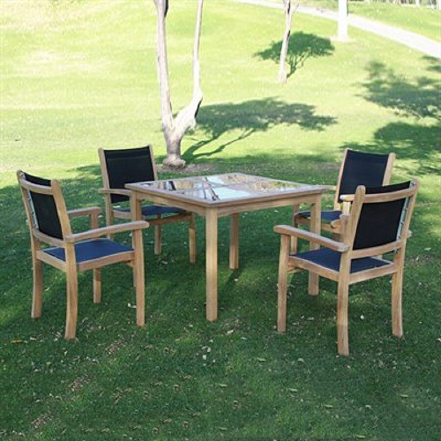 HiTeak Furniture Black Pearl 5-Piece Natural Blond Teak Dining Patio Dining Set