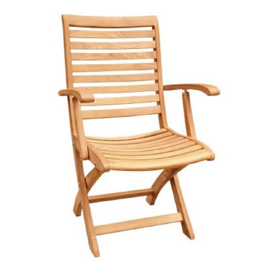 HiTeak Furniture Natural Blond Teak Folding Patio Dining Chair