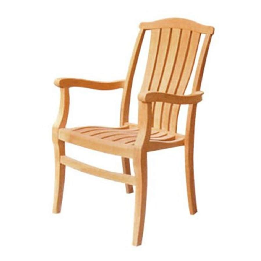 HiTeak Furniture 4-Count Natural Blond Teak Stackable Patio Dining Chairs