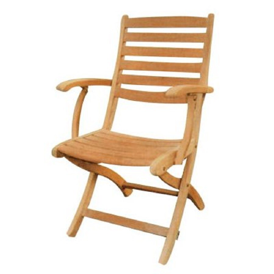 HiTeak Furniture Natural Blond Teak Folding Patio Dining Chair