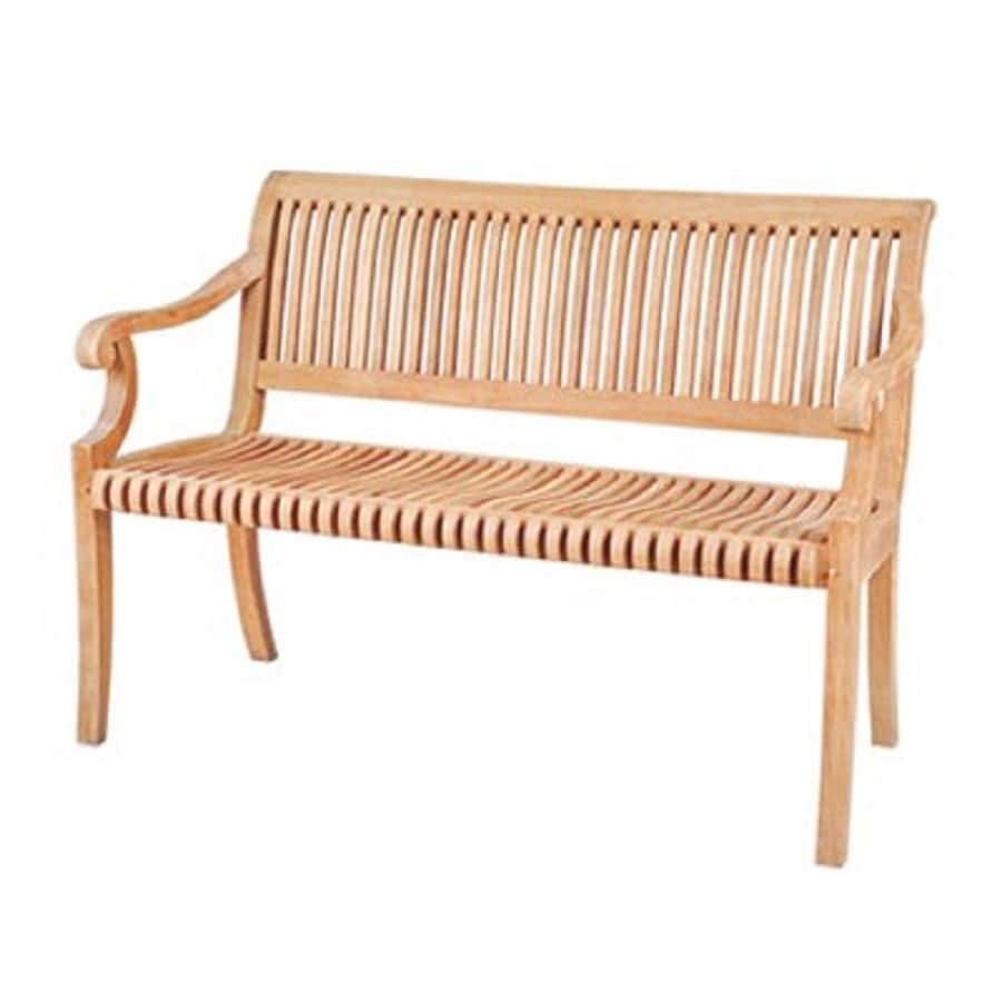 HiTeak Furniture 25-in W x 48-in L Natural Blond Teak Patio Bench