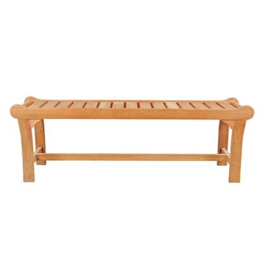 HiTeak Furniture 15.5-in W x 52.5-in L Natural Blond Teak Patio Bench