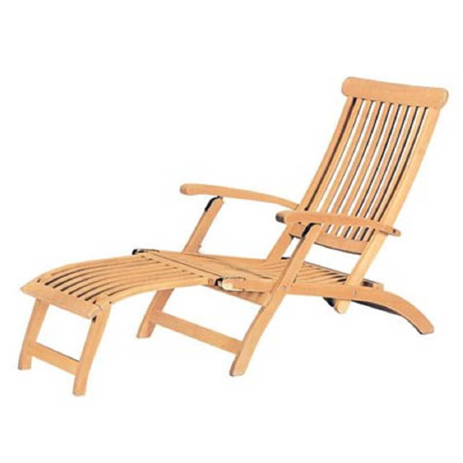 HiTeak Furniture Natural Blond Teak Folding Patio Chaise Lounge