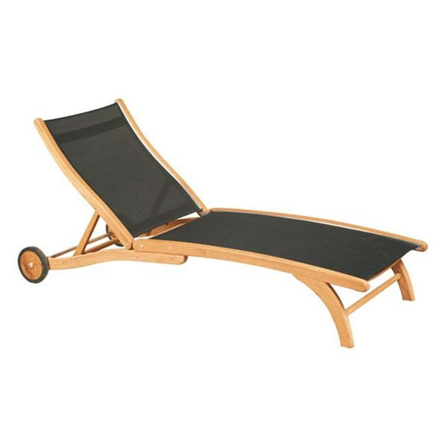 Shop hiteak furniture black pearl natural blond teak patio for Black outdoor chaise lounge