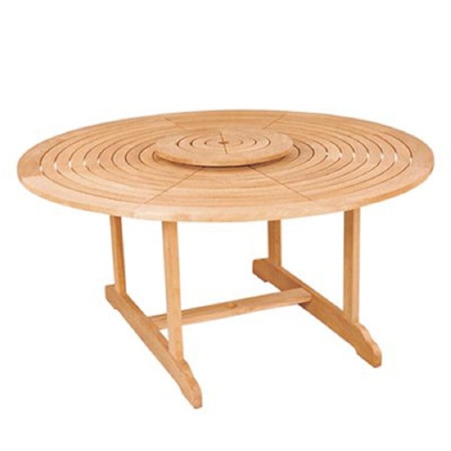 HiTeak Furniture 59.1-in W x 59.1-in L Round Teak Dining Table