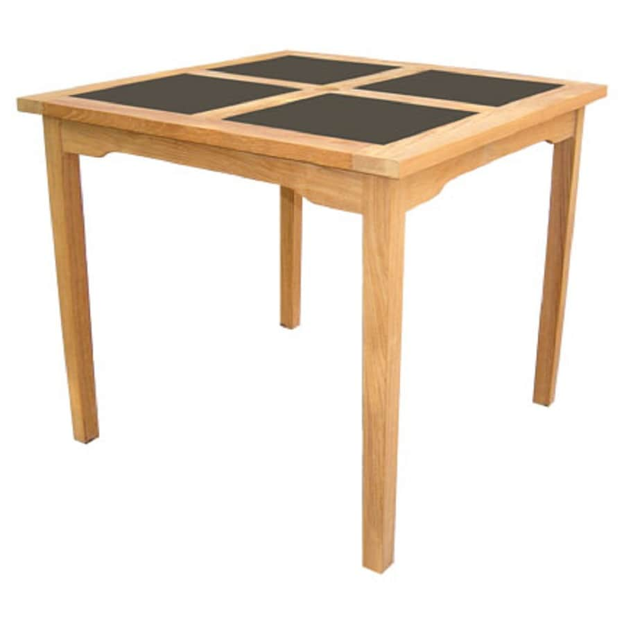 HiTeak Furniture Black Pearl 39-in W x 39-in L Square Teak Dining Table